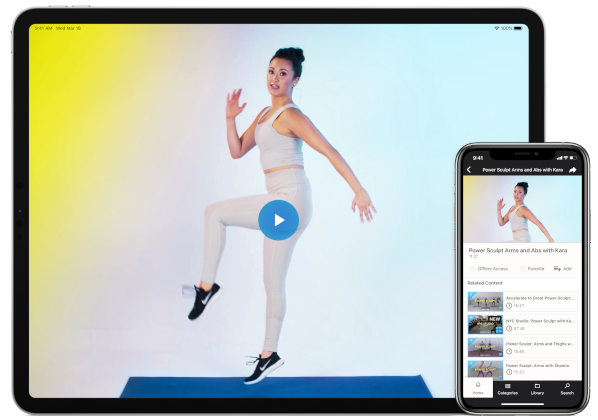 Tablet and phone screen showing video thumbnail of a woman doing a barre workout.